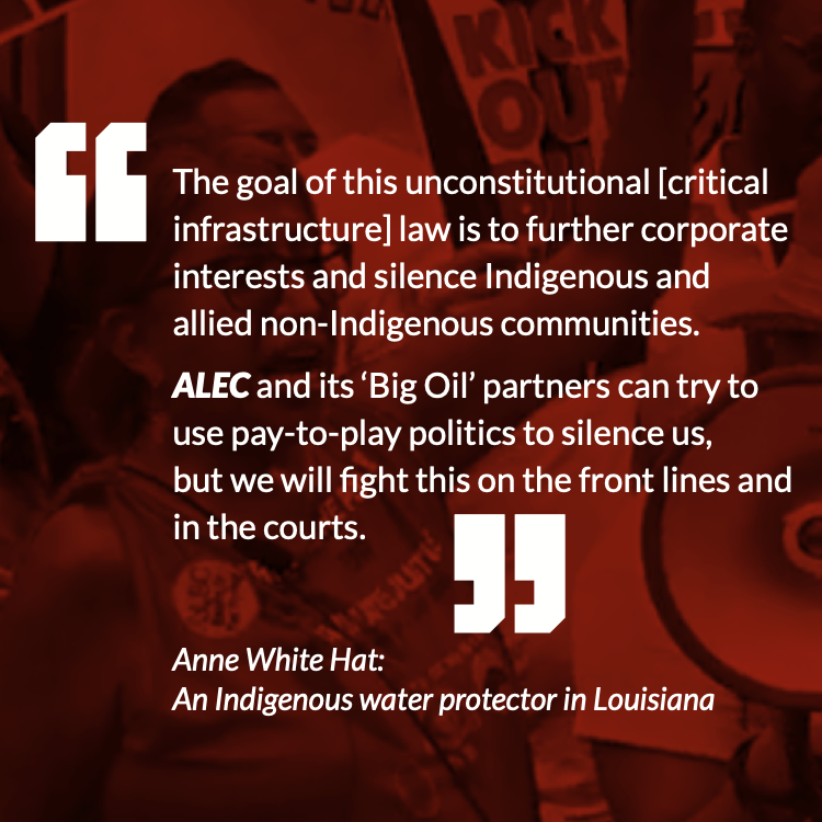 The goal of this unconstitutional [critical infrastructure] law is to further corporate interests and silence Indigenous and allied non-Indigenous communities.