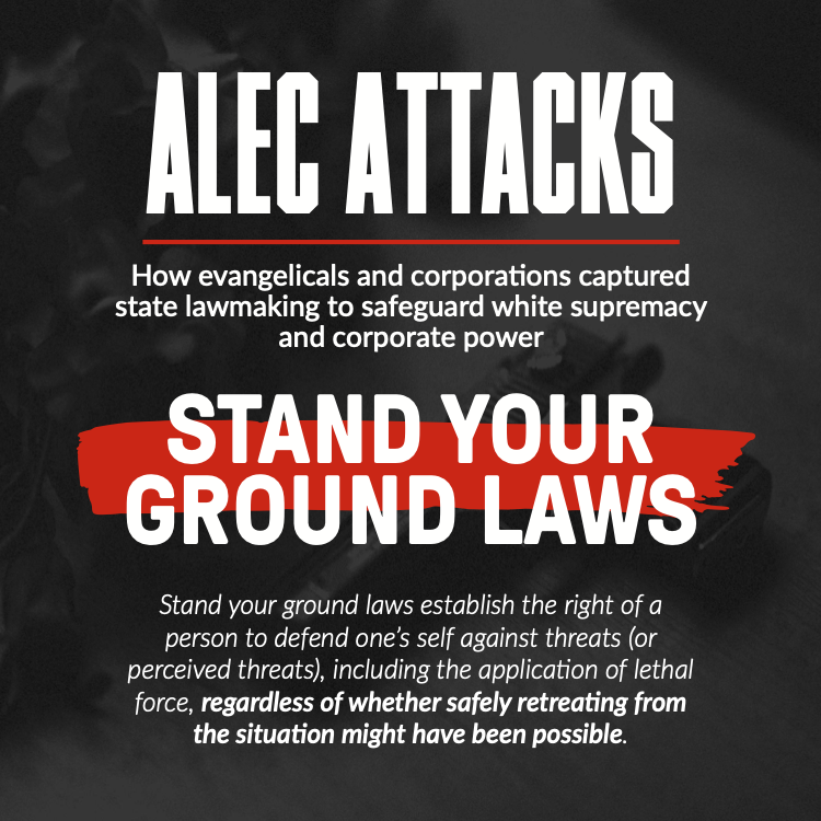 Stand your ground laws establish the right of a person to defend one's self against threats (or perceived threats), including the application of lethal force, regardless of whether safely retreating from the situation might have been possible.