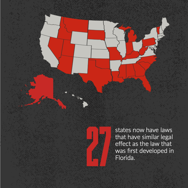 27 states now have laws that have similar legal effect as the law that was first developed in Florida.