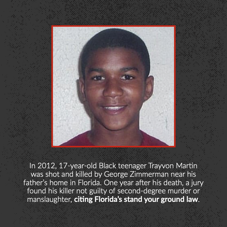 In 2012, 17-year-old Black teenager Trayvon Martin was shot and killed by George Zimmerman near his father's home in Florida. One year after his death, a jury found his killer not guilty of second-degree murder or manslaughter, citing Florida's stand your ground law.