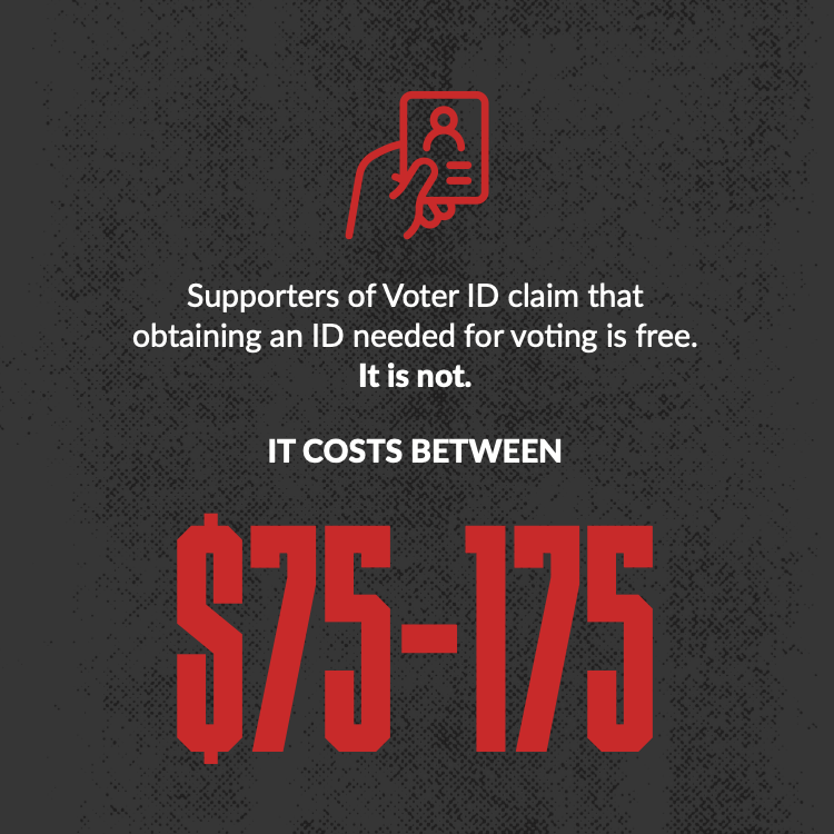 Supporters of Voter ID claim that obtaining an ID needed for voting is free. It is not. It costs between $75-175